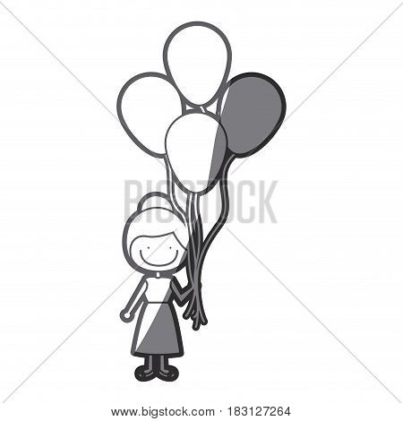 grayscale silhouette of caricature of smiling girl with dress and many balloons vector illustration