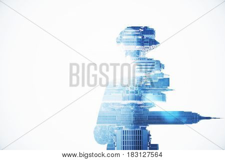 Side view of thoughtful businessman on abstract sideways city background with copy space. Tomorrow concept. Double exposure