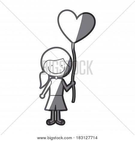 grayscale silhouette of caricature of smiling girl with short pants and ponytail hair and balloon in shape of heart vector illustration