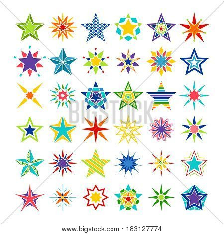 Kaleidoscope stars. Vector crazy multicolor star set isolated on white background