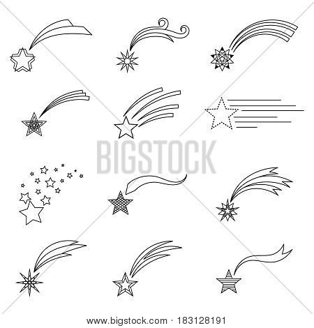 Vector shooting stars line icons or falling comets outline signs
