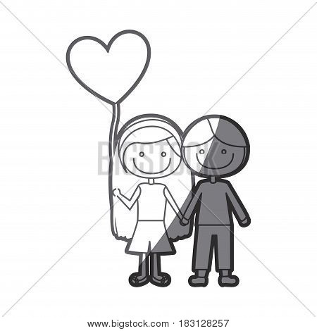 grayscale silhouette of caricature of couple kids in casual clothes with balloon in shape of heart vector illustration