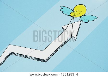 Creative drawing of little lamp with wings dragging arrow. Blue background. Successful business idea concept