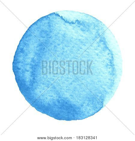 Watercolor abstract blue bell circle isolated on white background. Modern spot of round shape painted in watercolor in shades of cobalt and cerulean colors. Trendy watercolour texture HQ