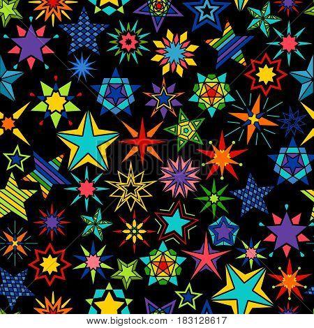 Kaleidoscope stars black background. Yellow and green, orange and blue star set seamless pattern. Vector illustration