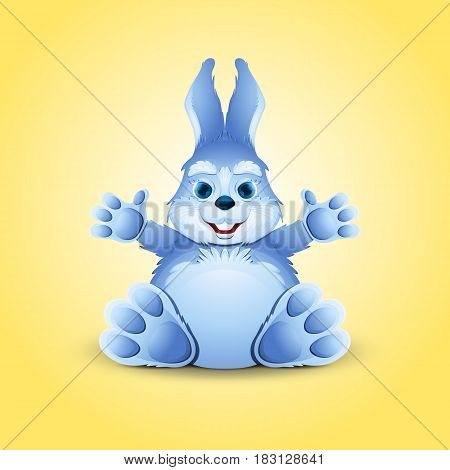 Little funny bunny sits with outstretched paws.