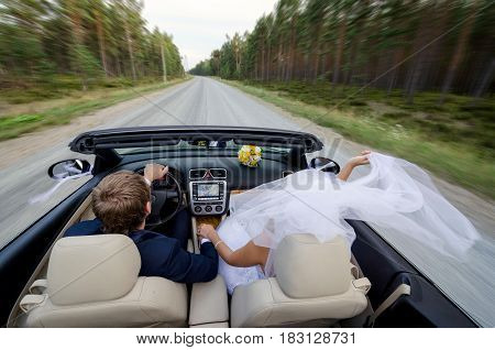 The bride and groom come with cabriolet.