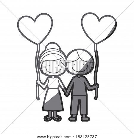 grayscale silhouette of caricature of boy and girl with balloon in shape of heart vector illustration