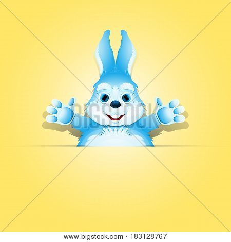 Cute rabbit in the paper pocket with place for your text and design.