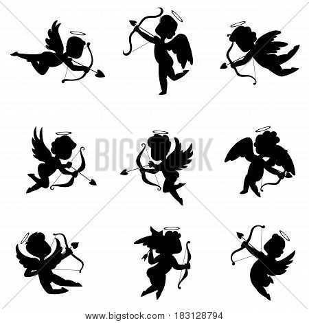 Silhouette cupids. vector illustration in flat style.