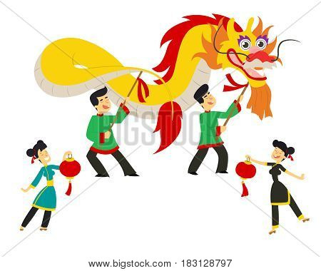 Chinese new year festival/Dragon dance. vector illustration in flat style.