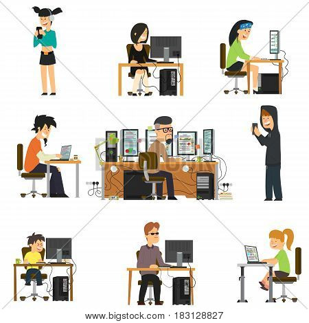 Different people work and play fun for different electronic gadgets. vector illustration in flat style.