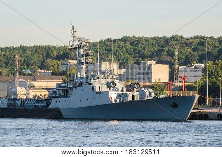 GDYNIA, POLAND - 2016:  Polish Navy ship ORP Kaszub corvette moored to quay of the port of war