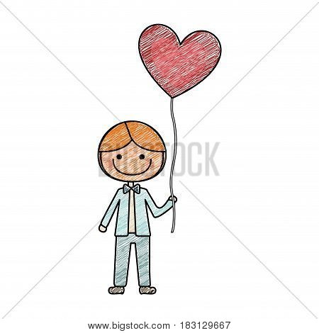 color pencil drawing of caricature of smiling kid with bow tie and balloon in shape of heart vector illustration