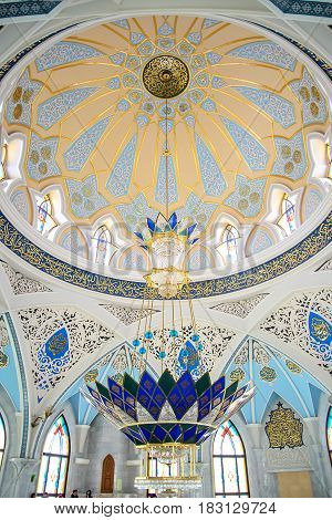 KAZAN RUSSIA - JANUARY 21: Very beautiful interior of Kul Sharif Mosque in Kazan Russia on January 21 2017