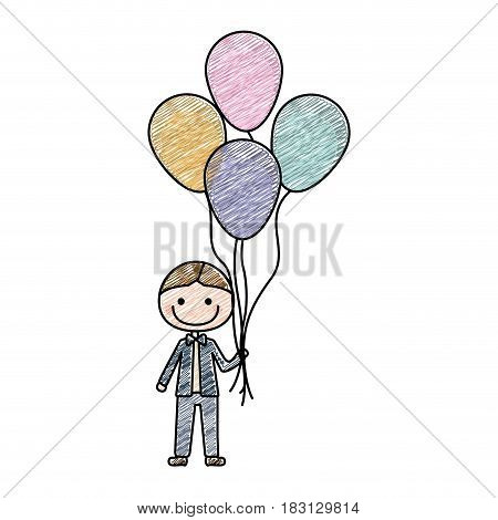 color pencil drawing of caricature of smiling kid with bow tie and many balloons vector illustration