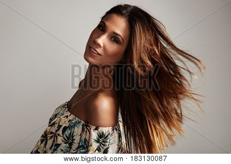 Dancing Spanish Woman With Straght Long Hair