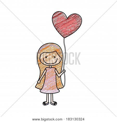 color pencil drawing of caricature of smiling girl with dress and long hair with balloon in shape of heart vector illustration