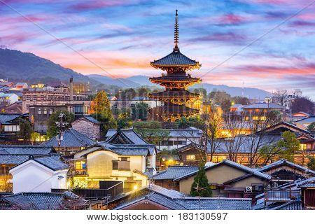Kyoto, Japan cityscape in Higashiyama historic district.