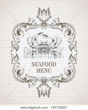 Vector Vintage Seafood Menu Template.