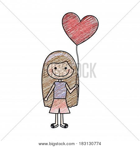 color pencil drawing of caricature of smiling girl with t-shirt and short pants and balloon in shape of heart vector illustration