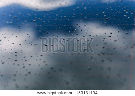 Close up water drops on a smooth surface with a white and blue color background