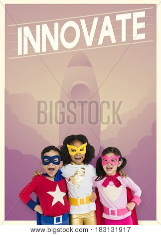 Group of superheroes kids with aspiration word graphic