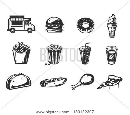 Set of vector black icons - car fast delivery of food or food truck, hamburger, pizza, ice cream, hot dog, roast chicken, french fries, taco, donut, coffee, sushi, pop corn
