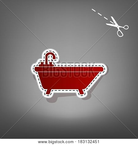 Bathtub sign illustration. Vector. Red icon with for applique from paper with shadow on gray background with scissors.
