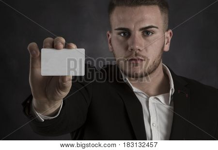 Holding Blank Businesscard