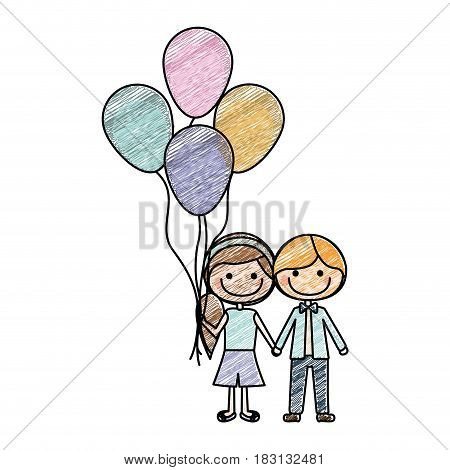 color pencil drawing of caricature of boy short hair and girl with side hairstyle with many balloons vector illustration