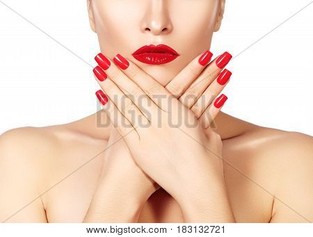 Red Lips And Bright Manicured Nails. Sexy Open Mouth. Beautiful Manicure And Makeup. Celebrate Make