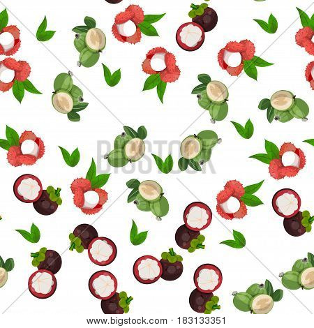 Very high quality original trendy vector seamless pattern with lychee, feijoa, mangosteen, exotic tropical fruit