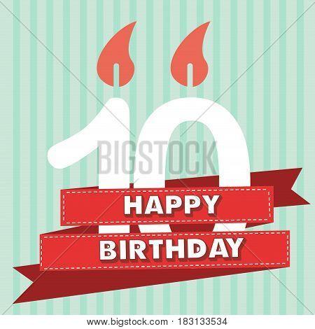10 years old vintage happy birthday in vector flat design