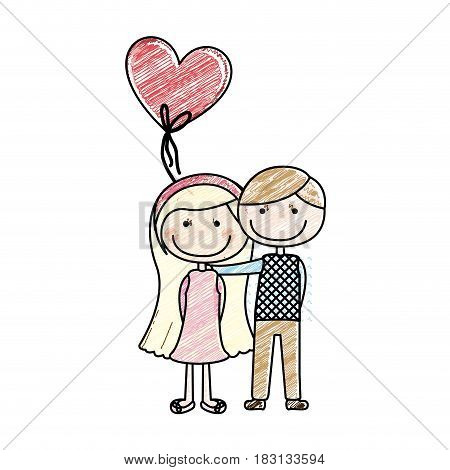 color pencil drawing of caricature couple of him in suit informal and her in dress with straight long hair and balloon in shape of heart vector illustration