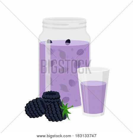 Blackberry smoothie. Vegetarian organic detox drink. Healthy nutrition, cocktail. Cartoon flat style.