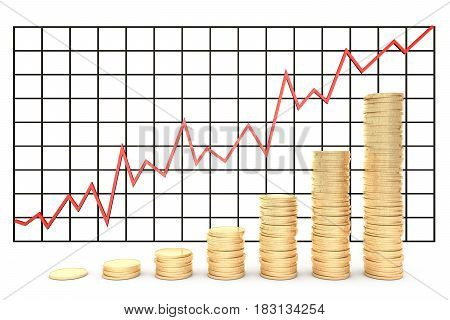 3d illustration: Metal copper-gold coins graph chart stock market  with red line - arrow on a white background isolated. Profit increase.