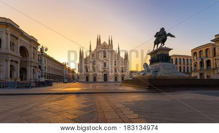 Duomo Milan gothic cathedral at sunriseEurope.Horizontal photo with copy-space.