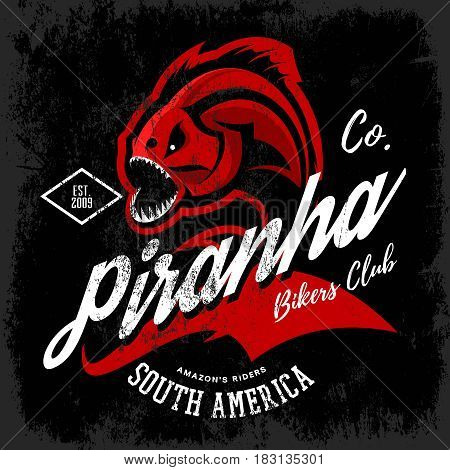 Vintage American furious piranha bikers club tee print vector design isolated on black background.  Street wear t-shirt emblem. Premium quality wild fearsome fish superior logo concept illustration.