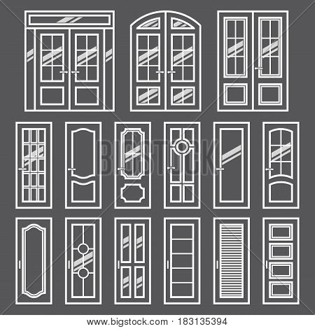 Vector doors design set. Modern and classic flat enterance collection. Interior doorway illustration. Elegant wood passage construction. Black and white style isolated.