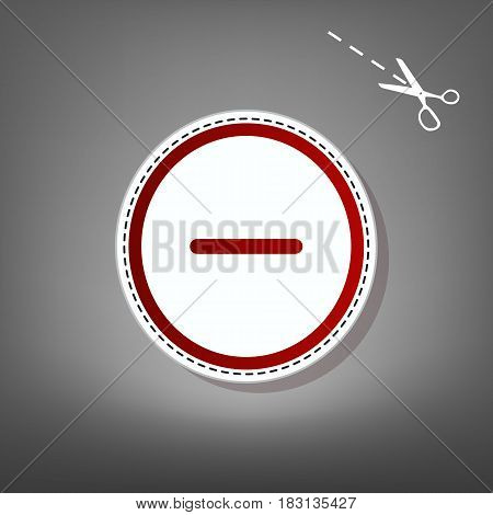 Negative symbol illustration. Minus sign. Vector. Red icon with for applique from paper with shadow on gray background with scissors.
