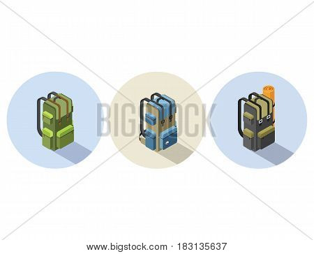 Vector set of  isometric illustration of camping backpack, Camp and hike bag icon