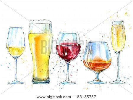 Glass of a champagne,cognac, wine, beer. Picture of a alcoholic drink. Watercolor hand drawn illustration.