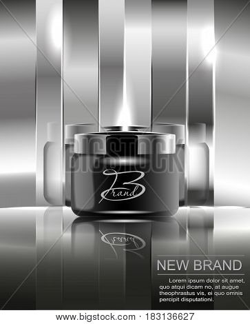 A new brand of cosmetics for the body cream. Black plastic jar for design on a mirrored silver background. Vector illustration.