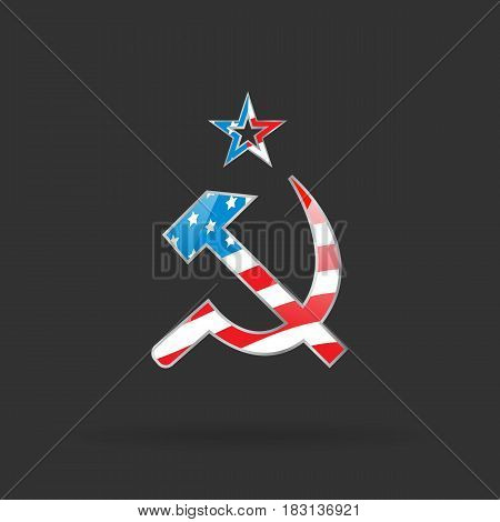 Hammer and sickle with USA flag, communism theme banner