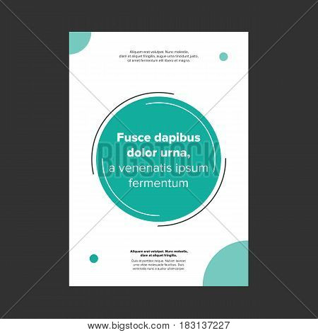 minimalist style cover page or banner with emerald and green circles