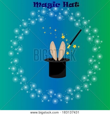 Very high quality original trendy vector illustration of magic hat, bunny ears and wand with sparkles