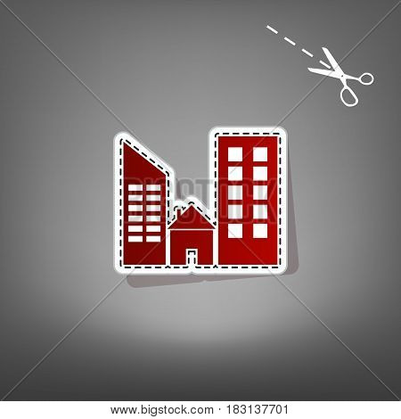 Real estate sign. Vector. Red icon with for applique from paper with shadow on gray background with scissors.