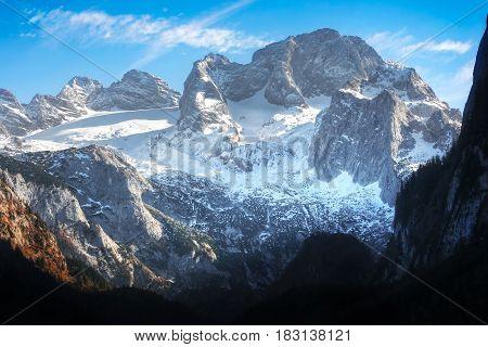 Beautiful View Of Dachstein Mountain In The Austrian Alps In Salzkammergut, Upper Austria, Austria.