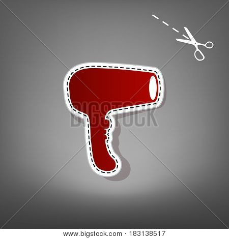 Hair Dryer sign. Vector. Red icon with for applique from paper with shadow on gray background with scissors.